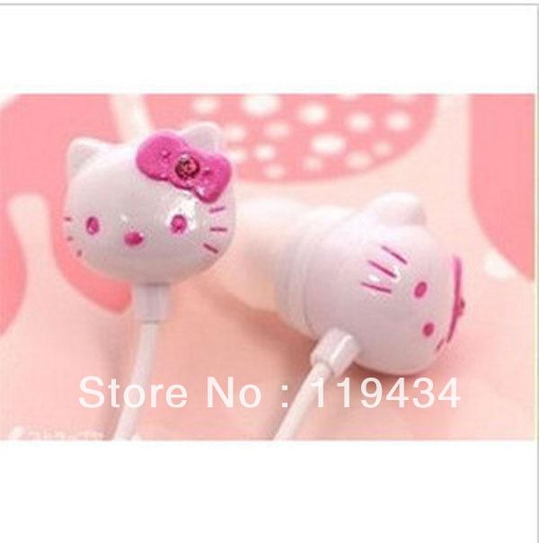 Free Shipping +cartoon cuty hello kitty in-Earphone Headphone Headset for ipod mp3/mp4 phone cheapest earphone 50pcs/lot(China (Mainland))