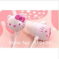 Free Shipping +cartoon cuty hello kitty in-Earphone Headphone Headset for ipod mp3/mp4 phone cheapest earphone 50pcs/lot