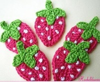 crochet strawberry with leaves handmade cotton strawberry