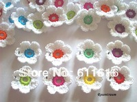 Free shopping white crochet flower handmade flower cotton flower
