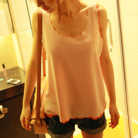 Free Shipping Woman's  Sleeveless Wave Vest Chiffon Shirt Chiffon Candy Color Tank Tops 7 Colors TS-023