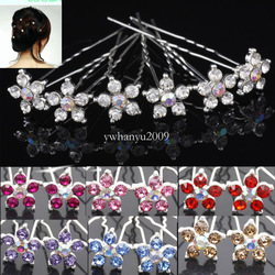 Free shipping 40pcs 10 colors for choose Rhinestone Crystal Wedding Bridal Party Star Flower Hair Pins Bands Clips 60201-60210(China (Mainland))