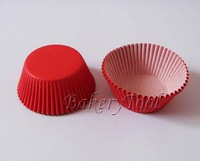 Hot selling 500pcs Plain Red Color Cupcake Liner baking Cup Paper Muffin Cases Cake Cup on promotion