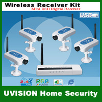Home CCTV 2.4GHz Mini USB Digital Wireless Security 4-Channel Receiver and 4 Camera Kits (URC202-CM213) free shipping