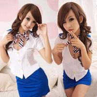 Sexy ribbon stewardess clothes school wear sauna service ktv sauna photo service