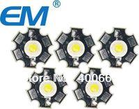 50PCS/lot 3W White  white High Power LED Light Emitter 6000-6500K with 20mm Star Heatsink