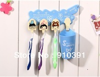 Free shipping DIY toothbrush rack set with 3 toothbrush hooks+1 toothbrush cup bathroom products as traveling accessory.
