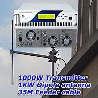 1KW Radio broadcast FM Transmitter + 1KW dipole antenna+35M feeder cable with connecoters