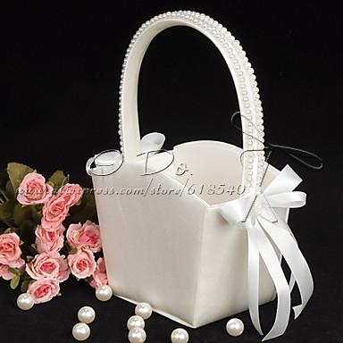 Livraison gratuite fleur fille panier en satin ivoire avec - Panier en rotin avec poignee ...