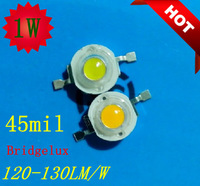 1000pcs/lot 1w 45mil USA Bridgelux chip 120-130LM high power led chip led lamp light source led bulbs CE& RoHS free shipping