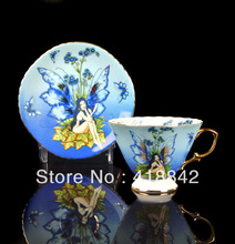 Handpainted Quiet Blue Butterfly Girl Porcelain Coffee Set 1 Cup 1 Saucer Weddings Gift Holiday Gift
