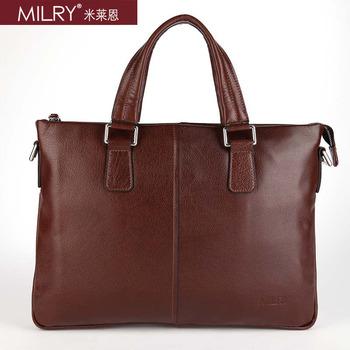 Free shipping Brand MILRY 100% Genuine Leather Men Briefcase shoulder messenger Bag for laptop cowhide handbag coffe P0153-2