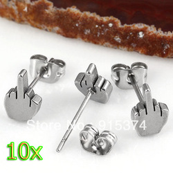 10pcs Fashion Stainless Steel Classic Middle Finger Ear Stud Men's Earring Punk Cool Silver Free shipping(China (Mainland))