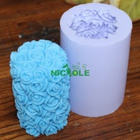 Free shipping cylindrical rose handmade soap mould candle mould  food cake mold lz0088
