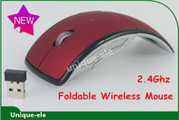Freeshipping-Wireless Foldable Portable Arc Mouse,Snap-in Transceiver, USB 2.4Ghz Wireless Optical Wholesale
