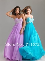 2013 New Collection A Line Empire Sweetheart Off Shoulder Chiffon Pleats Beaded Crystle Blue Purple Prom Dress Gowns