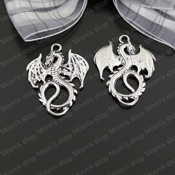 (25229)Fashion Jewelry Findings,Accessories,charm,pendant,Alloy Antique Silver 34*27MM Dragon 10PCS