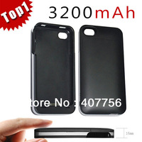 3200mAh External Rechargeable Power Backup Battery Charger Case For Iphone 4 4S fast shipping (With retail box)