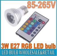 Energy saving+Remote Control 16 Colors Changing RGB LED Lamp,3W E27 RGB LED Bulb ,85-265V RGB LED light, free shipping