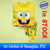 Wholesale 6sets/lot 2013 New Children 100% Cotton Sleepwear Kids Cartoon Bob Sponge pajamas for children