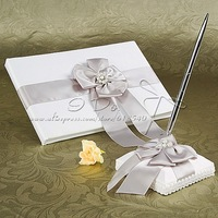 Free Shipping White Wedding Guest Book and Pen Set With Silver Pearl and Bow  Wedding Ceremony Accessories