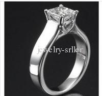100% 14K New 1/2 TCW PRINCESS CUT  ENGAGEMENT RING 18K WEDDING RING WHITE GOLD