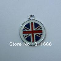 Free shipping Union Jack 100 pcs/lot  zinc alloy enamel charms pendants h019