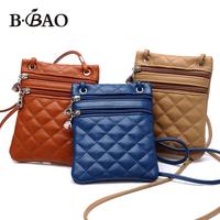 hot sale Double zipper new 2014 small Pu women leather bags plaid women messenger bag  mobile phone bag ladies shoulder bags
