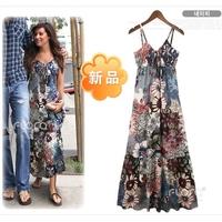 2013 spring summer bohemia full dress beach half-length dress short chiffon one-piece dress