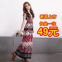 Hot-selling 2013 summer bohemia elegant slim full dress sleeveless beach dress one-piece dress
