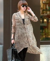 summer fashion casual dresses for women Leopard print 3837 dovetail double pocket shirt