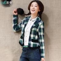 INMAN 2013 spring cotton plaid 100% sweep colorant match blazer 8310420478