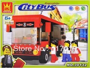 Free shipping WanGe 30132 318pcs 3D DIY lagre Enlightren bricks blocks Building Blocks sets eductional children toys city bus