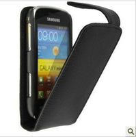 Black Genuine Leather Case Cover Pouch + Film For Samsung Galaxy S Duos S7562