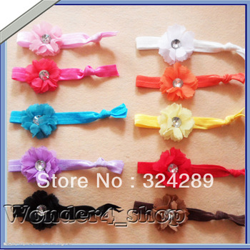 Free Shipping 24pcs Wholesale girl stretchy Soft knotted elastic hair ties with flower ponytail holder hair accessory 12colors