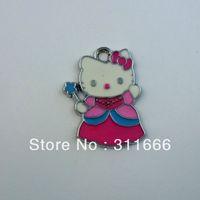 "Free shipping ""Hello Kitty""100 pcs/lot  zinc alloy enamel charms pendants h065-3"