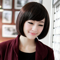 New Fashion Womens Girls Inclined Bangs Short Straight Wig BOBO Cosplay Party Full Wigs Hair P23