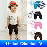 Free Shipping Retail Kids set Summer Wear Short sleeve set Children clothing suit  Smiling face T shirt+pants