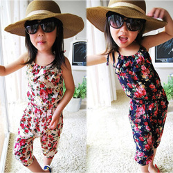 New Arrival girl&#39;s summer suspender pant girl&#39;s flower Jumpsuits baby overalls girl trousers children loose pants 5pcs/lot(China (Mainland))