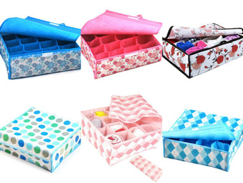 Free shipping high quality  home storage  16 grid underwear storage box  cute storage bags 6pcs/lot Many styles for choose