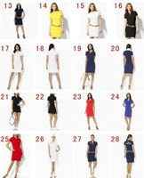 Summer female polo Dresses short-sleeve silk loose casual one-piece dress /S M L XL h047 Free Ship
