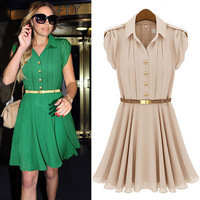 peplum high street brand 2013 new summer cute ruffle casual dress fashion chiffon dresses clothing for women