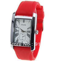 Sinobi Women's Watch with Roman Numbers Hour Marks Rectangle Dial Silicon Band - Red
