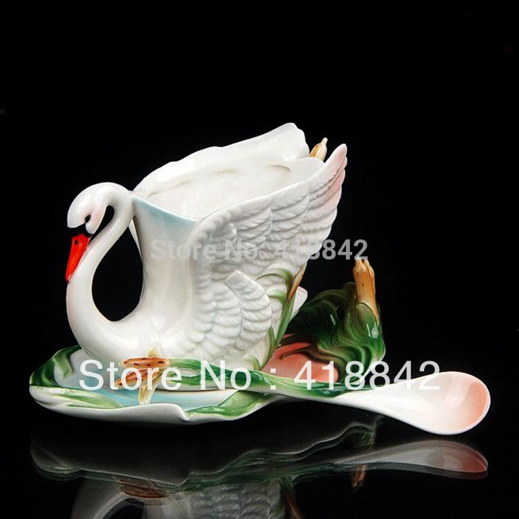 Unique Graceful Swan Reed Coffee Set Tea Cup Saucer Spoon Plate Mug Christmas Gift