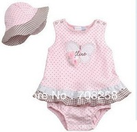 4pcs-Baby Princess Pink Dot one piece dress lace summer dress with cute hat,children clothing set baby wear,280#