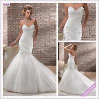 2013 Hot sale Elegant Mermaid Sweetheart Organza Chapel Wedding Dress Party dress Custom-made