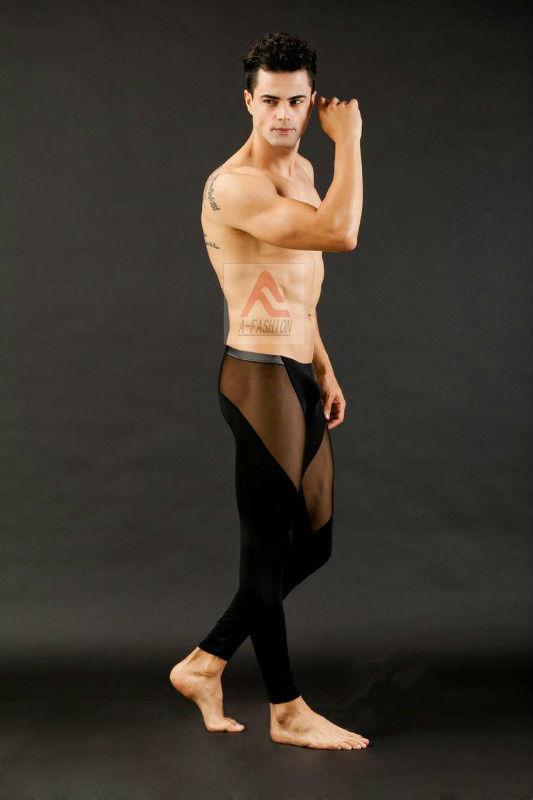WJ Sexy Men's Thermal Underwear Pants Long Smooth Pants Transparent Red Pants  Men's Long johns Smooth mesh see-thru Black Pants