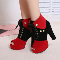 2013 spring and autumn open toe shoe fashion boots color block decoration thick heel high-heeled shoes platform boots women's