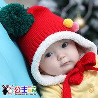 3233 princess bonnet female winter fairy style cap child cap baby pocket plus velvet baby hat