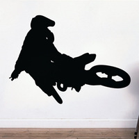 Free Shipping Wall stickers Home decor Size:745mm*1010mm PVC Vinyl paster Removable Art Mural Motorcycle stunt M-353